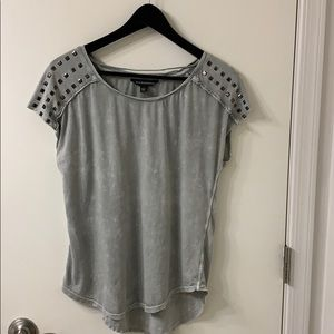 Rock & Republic distressed studded green t-shirt S